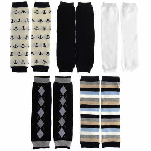 Dylan's Preppy Boy Legwarmers Set of 5 - Anchor, Stripe, Argyle
