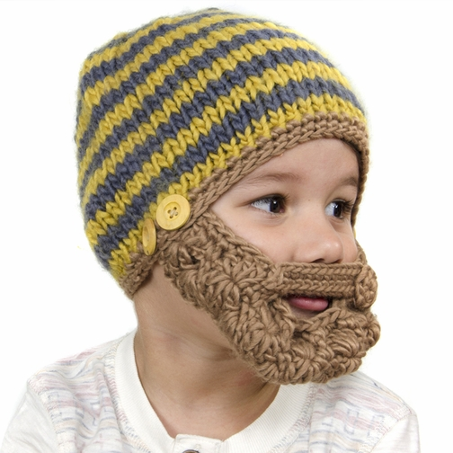 Large Beard Beanie - Grey and Yellow Beanie with Beard for Kids and Young Adults - 18 inches