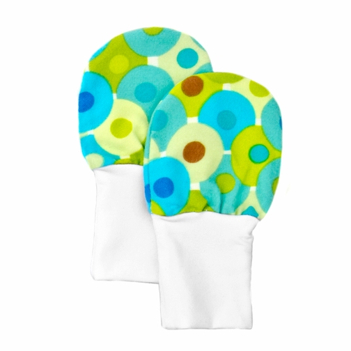 No Scratch Stay On Baby Mittens - Green and Blue Dots (6-12m)