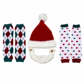 Little Kid Christmas Leggings and Santa Beard Hat Set (Ages 2- 4)