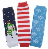 Adam's Christmas Baby Leg Warmers Set of 3 - Snowman, Snow Flake, Striped