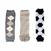 Sam's Baby Leg Warmers Set of 3 - Soccer, Beige, Argyle - Final Sale