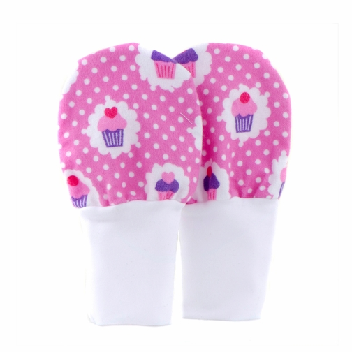 *SOLD OUT* No Scratch Stay On Baby Mittens - Pink Cupcakes  (0-6m)