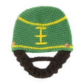 Green Football Beanie with Beard - Boy Girl Toddler Kid (Large)