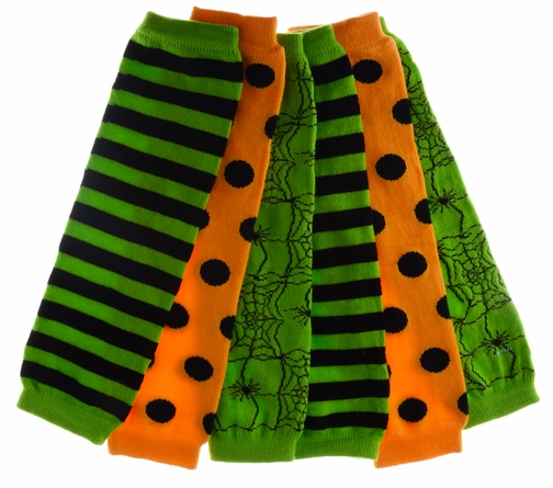 Baby Leg Warmers Set of 3 - Aiden's Halloween Striped, Spiders, Polka Dot