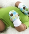 Soft Flannel Baby Mittens, Blue and Green Alphabet & Dots Set of 2, Fits larger baby hands age 0 to 6 months