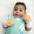 Large Baby Mittens - No Scratch Mittens 2 Pack, Cotton, Baby Mitten, Orange dots and Flowers