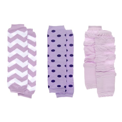 Baby Girl Leg Warmers Set - Purple Chevron and Polka Dot Set of 3