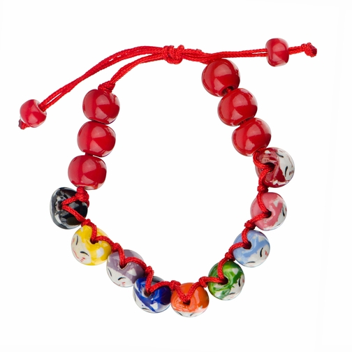 Little Girl Red Colorful Lucky Cat Adjustable Charm Bracelet