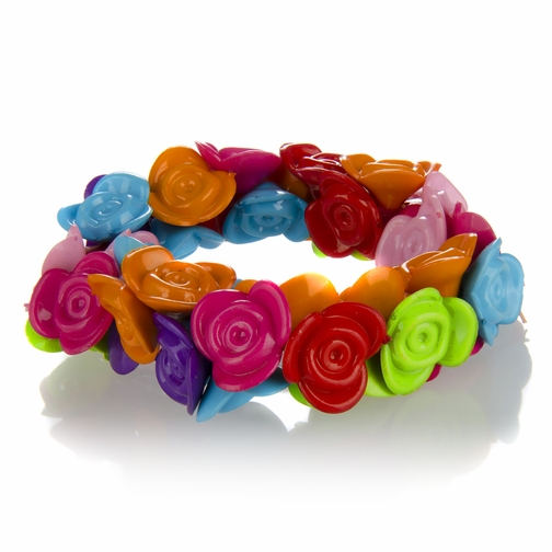 Lily's Little Girl Rainbow Flower Stretch Bracelet