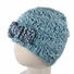 Small Fuzzy Beanie - Premium Blue Knit Hat with Bow for baby and toddler. Stretchable kid beanie, size 14 inches.