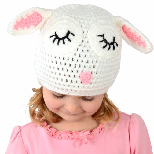 Small Lamb Beanie - White Lamb Hat for Baby and Toddler. Stretchable lamb beanie size 14 inches.