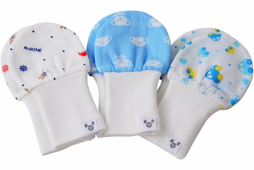 Baby Mittens - Newborn size, 100% Cotton, Value Pack Set of 3 - Cars, Bears, Nautical