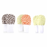 Medium Baby Mittens - No Scratch Mittens 3 Pack, Cotton Baby Mitten, Brown, Green, and Orange Elephants