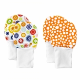Soft Flannel Baby Mittens Set of 2 -Flowers Dots, Fits larger baby hands age 0 to 6 Months