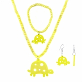 Little Girl Yellow Turtle Jewelry Set - Necklace, Bracelet, and Earrings