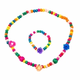 Wooden Bead Jewelry Set for Girls - Multicolor wooden beaded acrylic Flower Necklace and bracelet set - Play Jewelry - 16 inches.