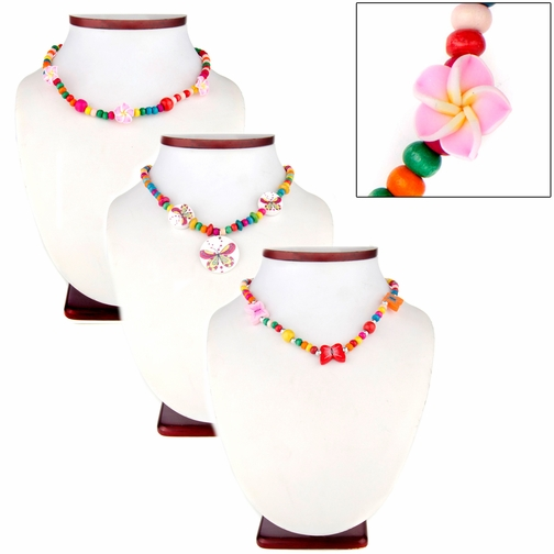 Lila's Little Girl Multicolor Wooden Bead Jewelry Set of 3