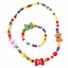 Wooden Bead Jewelry Set for Girls - Multicolor wooden beaded Butterfly Necklace and bracelet set - Play Jewelry - 16 inches.