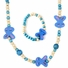Wooden Bead Jewelry Set for Girls - Blue wooden beaded Bunny Necklace and bracelet set - Play Jewelry - 16 inches.