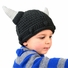 *SOLD OUT*Medium Viking Beanie - Grey Viking Hat with Horns for toddler and kid
