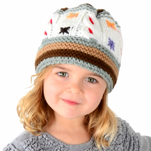 Medium Artisan Beanie - Colorful Cable Knit Hat for Toddler and Kid