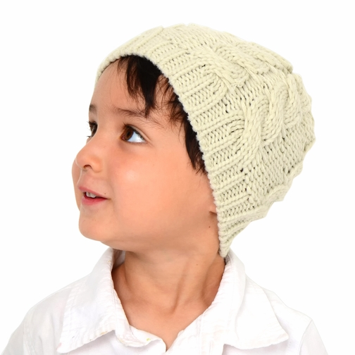 Small Cable Knit Beanie - Beige Hat for Baby and Toddler