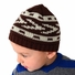 Medium Knit Beanie - Brown and White Patterned Hat for Toddler.and Kid