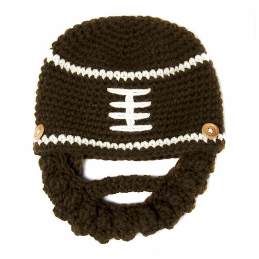 *SOLD OUT*Small Beard Beanie - Brown Football Beard Hat for baby and toddler. Soft, stretchable beanie beard hat size is 14 inches.