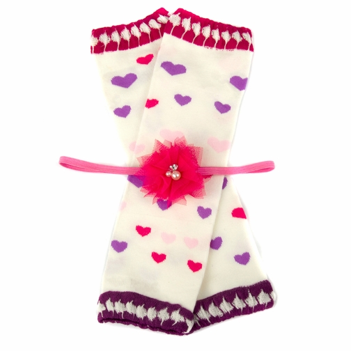 Paige's Pink and Purple Heart Leggings and Headband Gift Set
