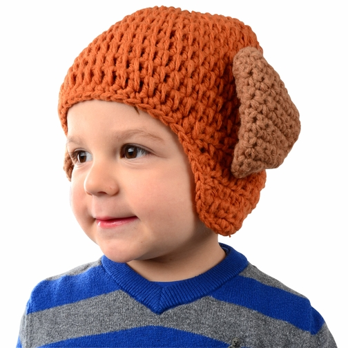 Large Puppy Hat - Orange Puppy Dog Hat with Floppy Ears