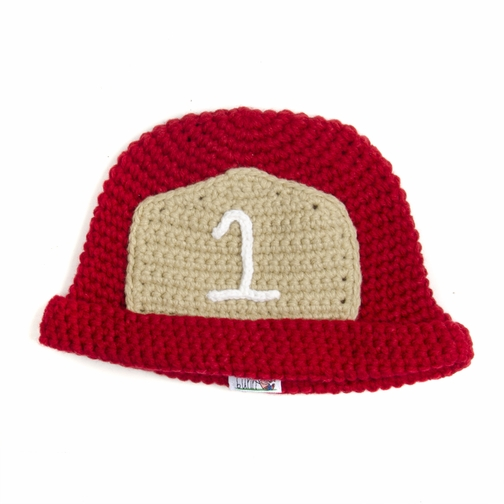 Red Firefighter Beanie - Baby Boy Girl Toddler (Small)