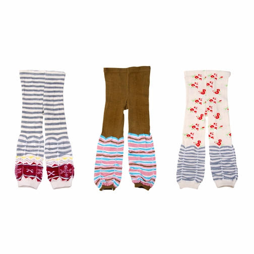Girls Cotton Legging Trousers 3 Piece Set Stripes and Cherrys
