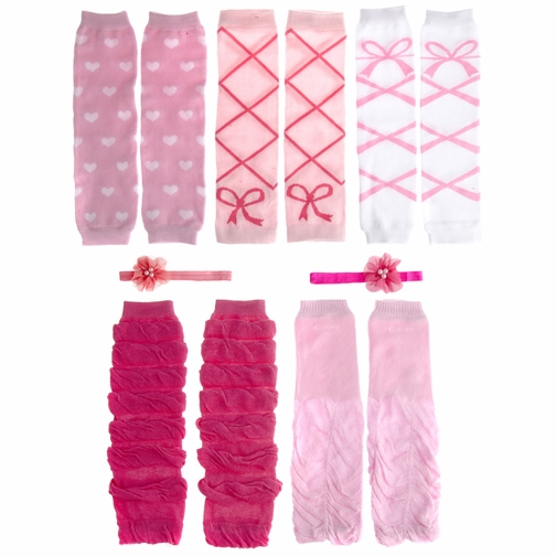 *SOLD OUT*Evie's Pink and White 7 Pc Leggings and Headband Set