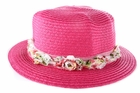Baby Sun Hat: Zoey's Straw Floral Baby Fashion Hat - Hot Pink