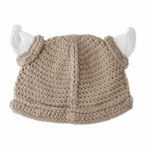 Small Viking Beanie - Tan Beanie Hat with Horns for baby and toddler. Stretchable viking beanie hat size is 14 inches.