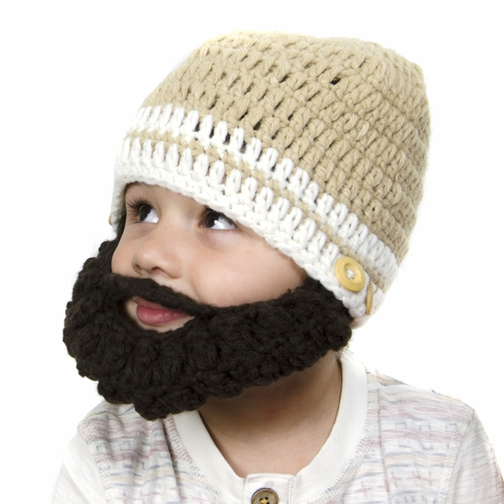 Small Beard Beanie - Tan Lumberjack Beanie Hat for baby and toddler. Soft stretchable beard beanie hat size is 14 inches.