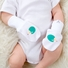 0-6m Stay On Cotton White Baby Mittens - Hedgehog