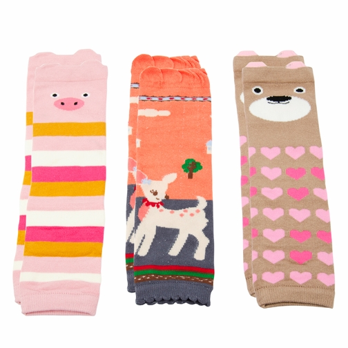 Baby Girl Pink Leg Warmers Set of 3 - Bear, Deer, Pig