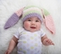 Small Bunny Beanie - Premium Pastel Bunny Hat with Ears for baby and toddler. Stretchable kid beanie, size 14 inches.