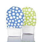No Scratch Baby Mittens: Colorful Dots - Blue and Lime Green, 6 - 12 Months