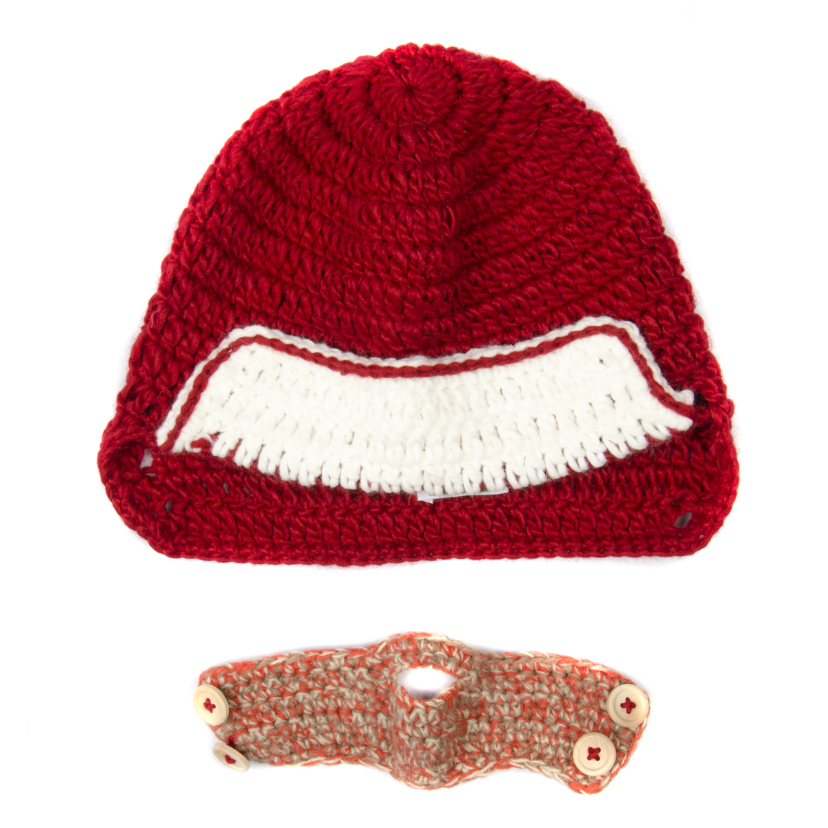 ccf1ea69b1f Red and White Beanie with Beard - Boy Girl Toddler Kid (Large)