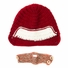 Red and White Beanie with Beard - Boy Girl Toddler Kid (Large)