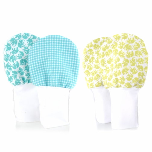 Large Baby Mittens - No Scratch Mittens 2 Pack, Cotton Baby Mitten, Blue Gingham and Elephants