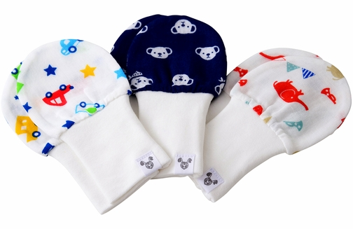 Boy Baby Mittens - Age 6 - 12 Months, Super Soft Cotton, Value Pack Set of 3 - Cars, Bears, Elephants