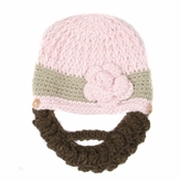 Medium Beard Beanie - Pink Flower Beard Hat for toddler and kid.  Soft, stretchable beard beanie hat size is 16 inches.