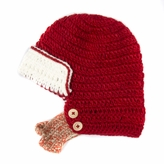 Red and White Beanie with Beard - Boy Girl Toddler Kid (Medium)