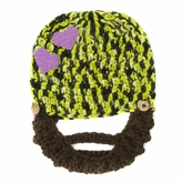 Purple Heart Beanie with Beard - Boy Girl Toddler Kid (Large)