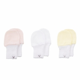Girl Newborn Baby Mittens - Pink, White, Yellow, 3 Pack, Cotton Baby Mitten