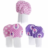 Soft Flannel Baby Mittens Set of 3, Cupcakes, Hearts, Elephants, Fits Larger Baby Hands Age 0 to 6 Months